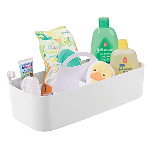 mDesign Plastic Nursery Storage Caddy Tote, Divided Bin with Handle for Child/Kids - Holds Bottles, Spoons, Bibs, Pacifiers, Diapers, Wipes, Baby Lotion - BPA Free, Large - White
