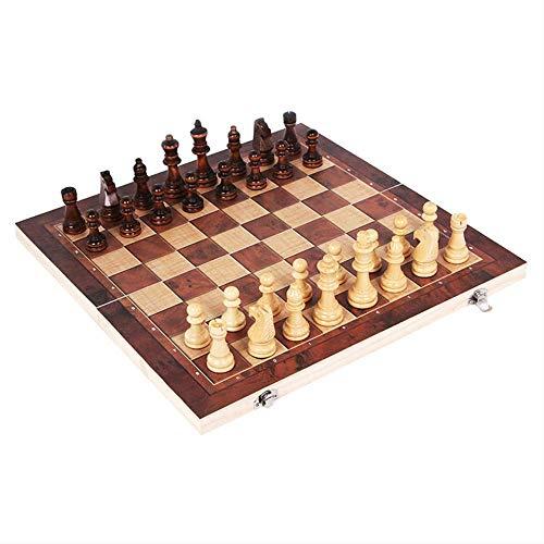 XHH Ajedrez de Madera 3 en 1, Damas de Backgammon, Juegos de Interior o Exterior, Tablero de ajedrez, 24x24 cm (Fiesta de Entretenimiento de Rompecabezas)
