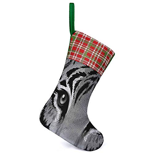 Adorise Customize Christmas Stocking Tiger Sharp Eyes Wildlife Home Ornament Holiday Party Supplies Perfect for Christmas