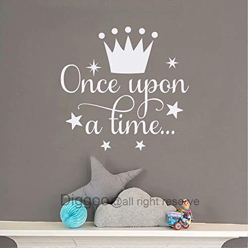 Diggoo Once Upon A Time Wall Decal Fairytale Decal Princess Crown Decor Girls Bedroom Decor Kids Room Quotes (White,14' h x 14.5' w)