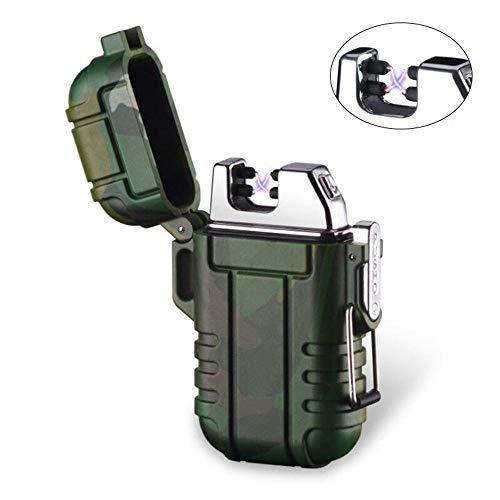 Mechero de Plasma, Teepao Dual Arc Mechero USB recargable sin llama a prueba de viento encendedor de cigarrillos impermeable eléctrico bolsillo encendedor