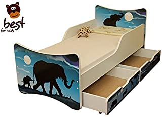 BEST FOR KIDS- Children Toddler bed- wooden low sleeper with Guardrails  Drawers  80x180 Africa