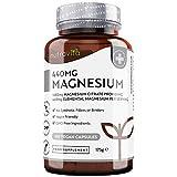 Citrato de Magnesio 1480mg que Proporciona 440mg Alta Dosis de Magnesio Elemental - Alta Biodisponibilidad - 180 Cápsulas Veganos - Suministro 90 Días - Fabricado en el Reino Unido por Nutravita