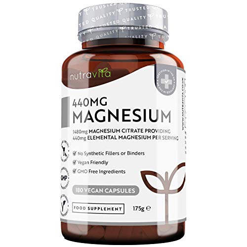 Magnesium Citrate 1480mg – 180 Vegan Magnesium Capsules not Magnesium Tablets – High Absorption, Premium Magnesium Supplements – No Nasties – 90 Days Supply – Made in The UK by Nutravita