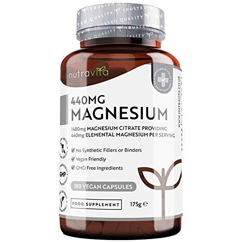 Citrate de magnésium 1480mg fournissant 440mg de magnésium élémentaire par dose - 180 capsules véganes - Dose élevée en magnésium élémentaire - 90 jours d'approvisionnement - Fabriqué par Nutravita