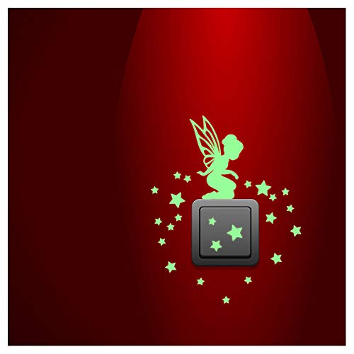 Ambiance Sticker Phosphorescent - Fée avec Petites étoiles - 25 x 25cm