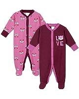 Gerber Baby Girls 2-Pack Thermal Sleep 'N Play, Pink Fox, 0-3 Months
