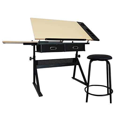 Adjustable Wooden Drafting Table Tiltable Tabletop Art Desk Watercolor Paintings Sketching Work Station w/Storage Drawers and Stool