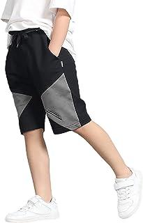 سروال قصير للأولاد من Rolanko، ملابس صيفية كاجوال رياضية لكرة القدم (رمادي 12-14)