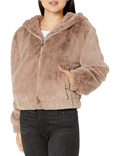 The Drop Women's Standard Sloane Faux Fur Zip Front Hooded Bomber Jacket
