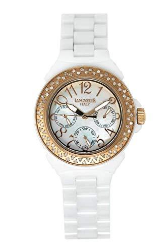 Lancaster Italy OLA0649RG/BN - Orologio al quarzo collezione Diamonds in ceramica bianca madreperla IP oro rosa