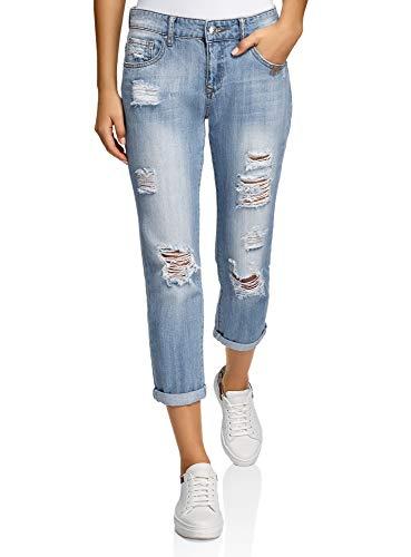 oodji Ultra Damen Boyfriend Jeans in Used-Optik, Blau, 27W / 32L (DE36 = EU38 = S)
