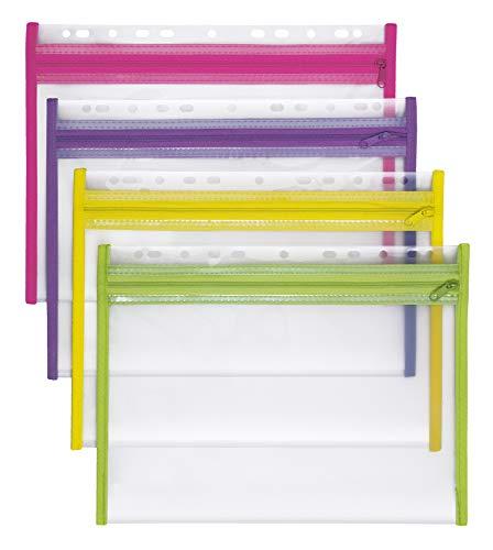 VELOFLEX 4354000 Sammelmappe Velobag XS A4, Ordnungsmappen Dokumentenmappen, abheftbar, PP, 4er Packung, gelb, grün, pink, lila