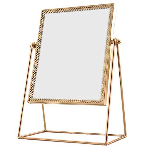 SWZXY Miroir de beauté de Table, Miroir détachable de Maquillage, Miroir cosmétique en métal de Rotation de 360 degrés Fait à la Main Miroir de Maquillage d'or approprié à la Salle de Bains de c