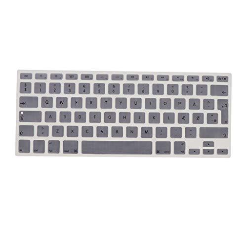 Shiwaki Dänische Phonetische Tastatur Schutzhülle, Kabellose Tastatur Schutzhülle Für 13,3 Zoll 15pro MacBook - Silber grau