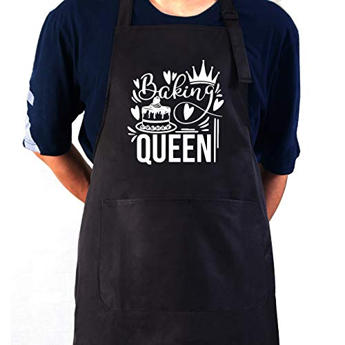 Funny Baking Apron for Women Girls,Baking Queen Baker Apron Waterproof with Pockets Adjustable Neck Strap for Mom Wife Nana Sister,Funny Baker Gifts,Baking Kitchen Gift