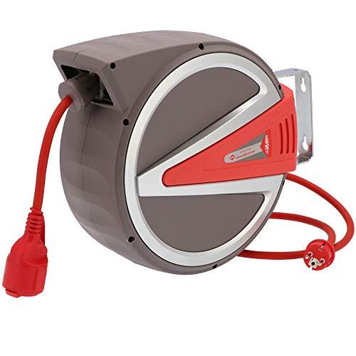 Federzug Kabel-Aufroller 15 m 3 x 2,5mm² IP44 230 Volt Automatik Wand Abroller Kabeltrommel