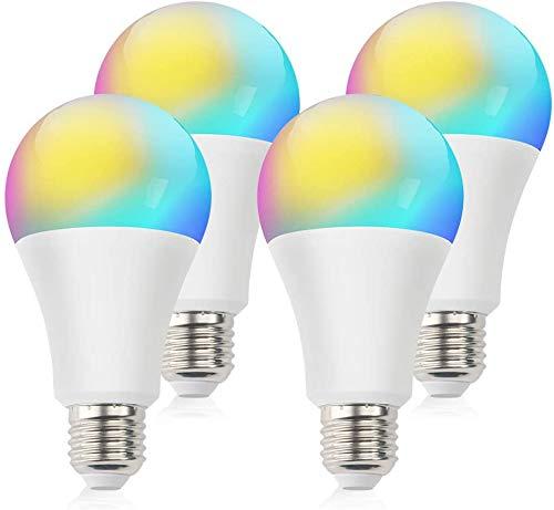 Smart WLAN LED Lampen Glühbirne Dimmbar, Intelligente Multicolor Birne Kompatibel mit Alexa Echo, Google Home, Gleichwertige RGBCW Farbwechselbirne E27, 4 Pack