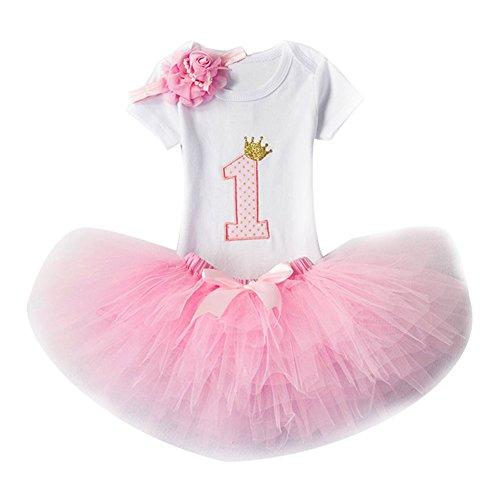Bebé Niña Vestido Cumpleaños 3pcs Corona Patrón de Primer/Segundo Cumpleaños para Vestido de Tutú Flores/Rosa/1años