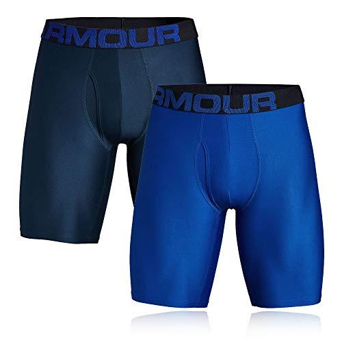 Under Armour Herren Tech 9in 2 Pack schnelltrocknende Boxershorts, komfortable Unterwäsche mit enganliegendem Schnitt, Blau (Royal/Academy (400), Large