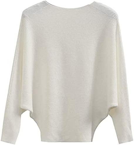 MAKARTHY Women s Batwing Sleeves Knitted Dolman Sweaters Pullovers Tops White product image