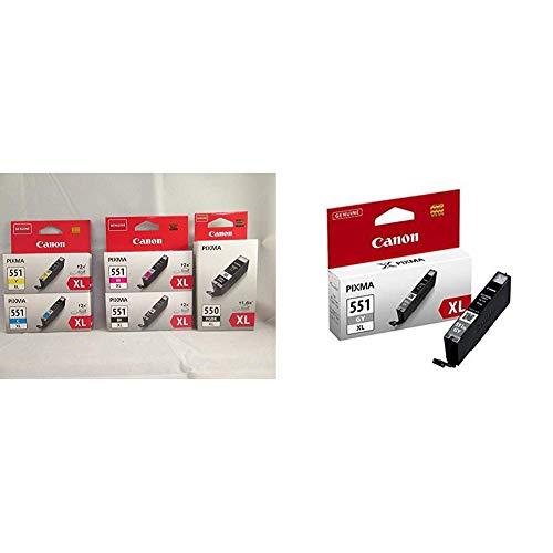 Canon PG-550XL+CLI-551XL 5 Cartuchos de Tinta Original BK/C/M/Y/PGBK XL para Impresora de Inyeccion de Tinta Pixma + GY Cartucho de Tinta Original Gris XL para Impresora de Inyeccion de Tinta Pixma