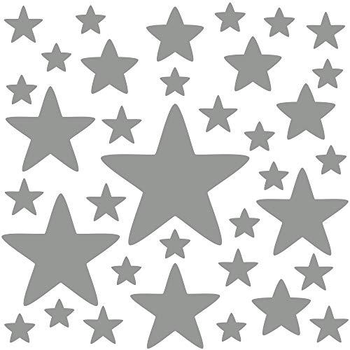 PREMYO 36 Estrellas Pegatinas Pared Infantil - Vinilos Decorativos Habitación Bebé Niños - Fácil de Poner Gris