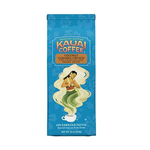 Kauai Hawaiian Ground Coffee, Coconut Caramel Crunch Flavor (10 oz Bag) - 100% Premium Gourmet Arabica Coffee from Hawaii's Largest Coffee Grower - Bold, Rich Blend