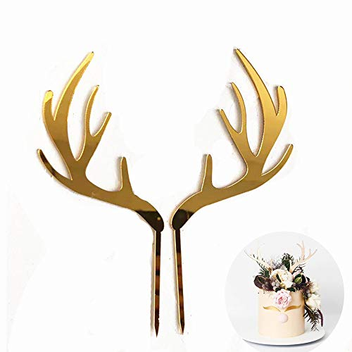 Sunormi Acrylic Gold Reindeer Antlers Cake Toppers For Merry Christmas Cake Birthday Decoration Party Supplies