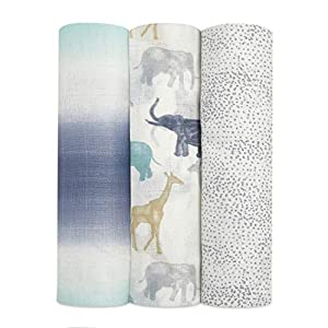 aden + anais Silky Soft Swaddle Blanket | 100% Bamboo Viscose Muslin Blankets for Girls & Boys | Baby Receiving Swaddles | Ideal Newborn & Infant Swaddling Set