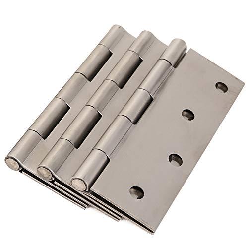 Bisagras de puerta de rodamiento de bolas de 4 pulgadas, bisagras de acero inoxidable de 100 mm con tornillos de montaje (paquete de 3)
