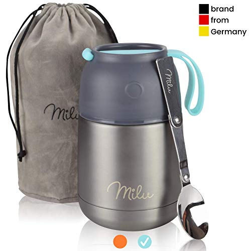 Milu® Thermobehälter Lunchbox 450 & 650ml | Edelstahl Isolierbehälter Gefäß für warme Speißen, Essen, Babynahrung, Suppe, Obst | Behälter Box für Baby | Speisegefäß | Thermogefäß | (Grau/Blau, 450ml)