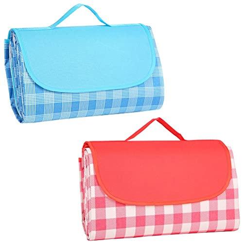 Hahepo Manta de pícnic para exteriores, con asa, impermeable, multifuncional, plegable, para picnics, comer al aire libre, camping