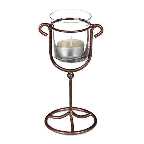 Relaxdays 1 x Kerzenhalter einfach, Kerzenständer Gusseisen, Glas für 1 Teelicht, HBT 16,5 x 9 x 7,5 cm, Teelichthalter, braun