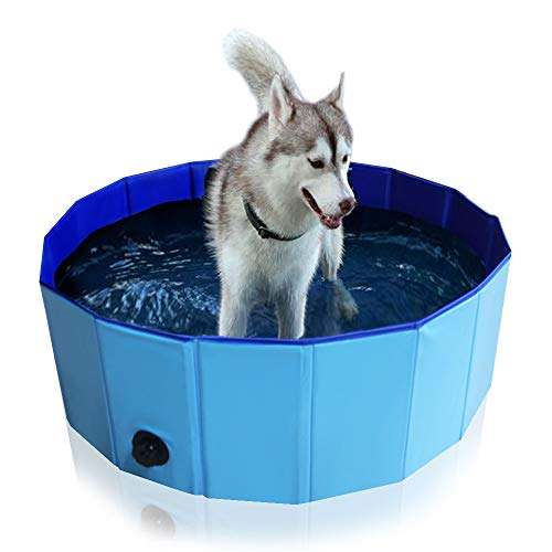Foldable Pet Bath Tub for Large Or Medium Sized Dogs Outdoor PVC Swimming Bathing Tub Kiddie Pool...