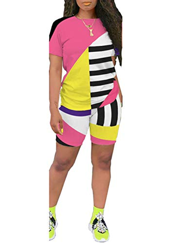 2 Piece Shorts Outfits for Women - Casual Color Block Short Sleeve Tops Bodycon Short Tracksuit Set Pink S