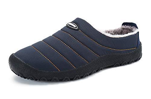 Zapatillas de Estar para Casa Hombre Mujer Invierno Calentitas Zapatillas de Deporte con Suela Antideslizante,Azul,44
