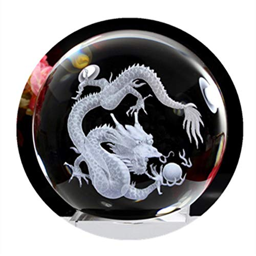qianyue 3D Crystal Dragon Ball Figurine Feng shui Office Decoratieve Storm Glas Ballen Ornamenten Dier Draak Beeld Ambachten 80mm Helder