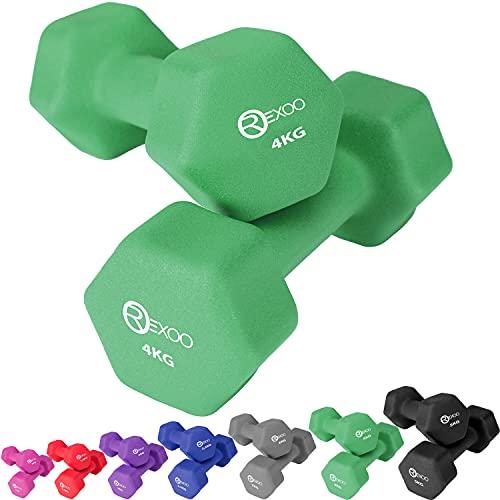 REXOO Neopren Kurzhanteln Hanteln, Gewichte 2er Set Hantelset Fitness Aerobic 2X 4,0 kg grün