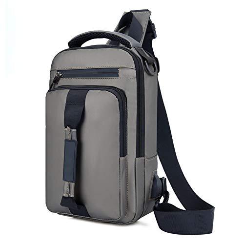 Nowbetter Mochila para hombre, bolsillo en el pecho, bolsillo en el pecho con interfaz USB, bolso multifunción adecuado para viajes, escuela, trabajo, color azul, gris (Gris) - VWA8UXRHK0