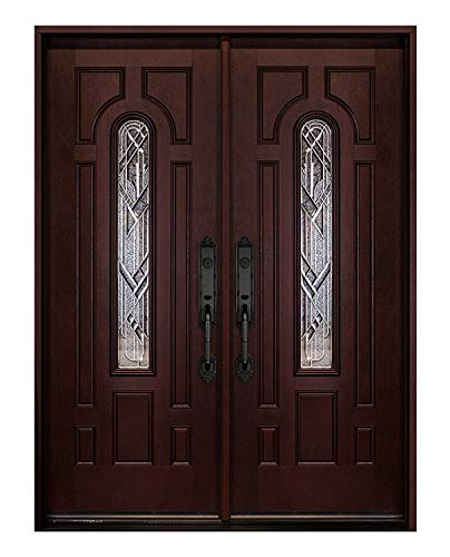 exterior doors Craftsman Double Exterior Doors Stained Dark Mahogany Right-Hand in Swing Fiberglass Prehung Front Door 36x36x80)