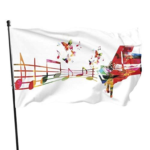 DDOBY Piano Notes Butterfly Fly Breeze 3x5 Foot Polyester Flag, Drapeaux de Plage durables résistants à la décoloration avec en-tête et œillet en Laiton, Facile à Utiliser
