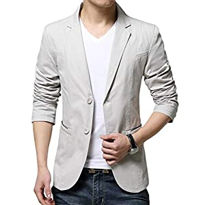 JHIJSC ジャケット メンズ スーツ テーラードジャケット ビジネス カジュアル 綿 大きいサイズ (ベージュ, M)