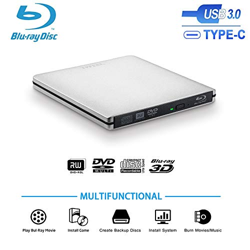 TPFeel External Blu Ray Burner Drive,USB3.0 and Type-C Aluminum Portable CD/DVD/BD Burner/Writer 3D 4K 6X Blu-ray Disc Playback, Super-Fast Transmission for Windows,Mac OS Laptop,PC,Computer(Silver)