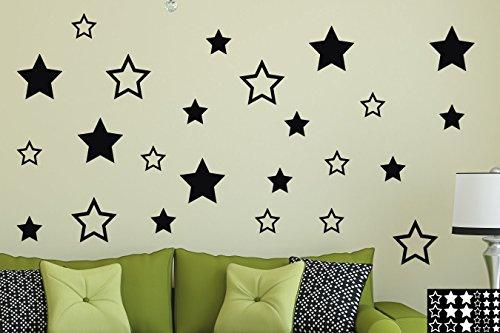 Kleb-drauf® - 24 Sterne/Silber - matt - Aufkleber zur Dekoration von Wänden, Glas, Fliesen & Allen Anderen glatten Oberflächen im Innenbereich; aus 19 Farben wählbar; in matt oder glänzend