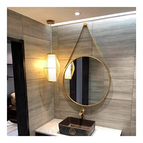 LEA 70cm Miroir Suspendu Rond qualité Miroir de Salle de Bain avec Cadre en métal Moderne à Suspendre pour Chambre à Coucher Salle de Bain et Salon (Color : Golden, Size : 70cm)