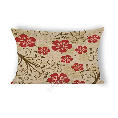 Funda de cojín rectangular de 35,5 x 60,9 cm, para cama, sofá, coche, decoración del hogar, flores rojas #105