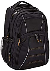 "Large multi-compartment backpack with a padded sleeve for laptops Holds up to 17"" notebook computer Mesh water bottle pockets at side Organizational compartments for pens, keys, and cell phone Internal Dimensions: 12"" x 4.5"" x 17.5"" (LxWxH); External..."