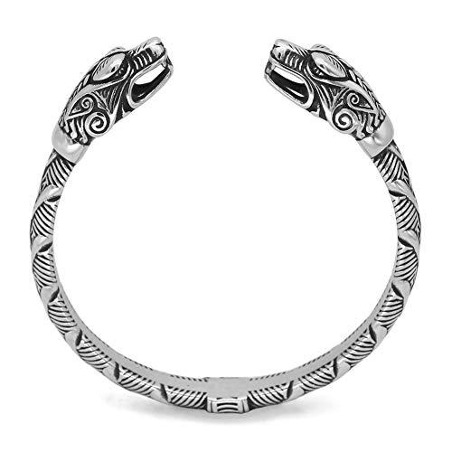 DFWY Hombre de Acero Inoxidable Serpiente Cabeza Abierta Vikingo Brazalete, Brazo Vikingo Nórdico Anillos Vintage Esclava Retorcida, Guerrero Medieval Animal Amuleto Regalo (Color : Silver)