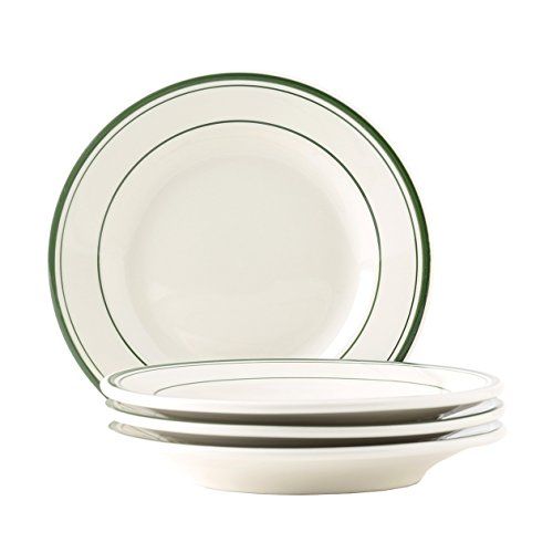 Tuxton Home Green Bay 7-1/8' Wide Rim Salad Plate - Set of 4; Heavy Duty; Chip Resistant; Lead and Cadmium Free; Freezer to Oven Safe up to 500F